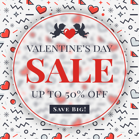 Valentine's Day sale banner with cupids, hearts and abstract geometric background in Memphis style. Modern vector template to advertising a discount.