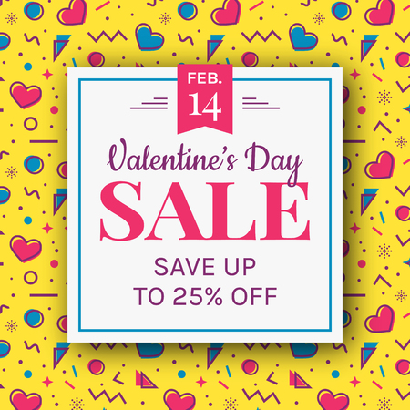 Valentines Day sale banner with hearts and colorful abstract geometric background in Memphis style. Modern vector template to advertising a discount.