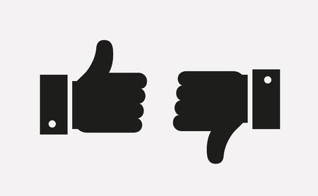 Thumbs up and thumbs down icons isolated on white background. Hands showing Like and Dislike signs. Vector symbols.  イラスト・ベクター素材