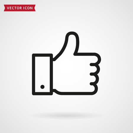 Thumbs up line icon. Hand showing Like sign. Vector outline symbol.  イラスト・ベクター素材