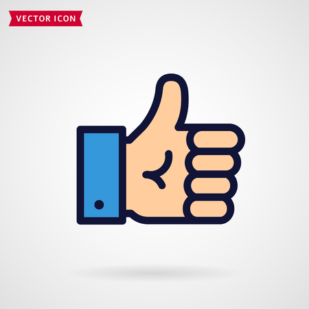 Thumbs up line icon. Hand showing Like sign. Modern colored outline symbol. Vector illustration.  イラスト・ベクター素材