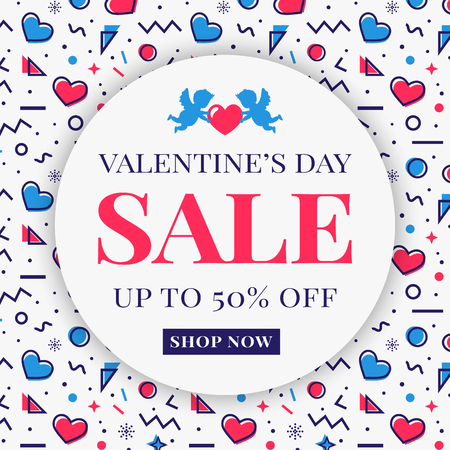 Valentine's Day sale banner with cupids, hearts and abstract geometric background in Memphis style. Modern vector template for advertising.