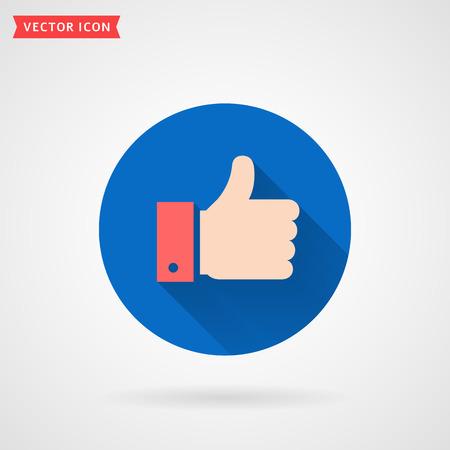 Pulgar hacia arriba icono plano de color. Mano mostrando como signo. Símbolo de círculo moderno con sombra para redes sociales o aplicaciones. Ilustración de vector.