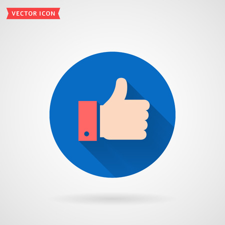 Thumbs up colored flat icon. Hand showing Like sign. Modern circle symbol with long shadow for social media or apps. Vector illustration.