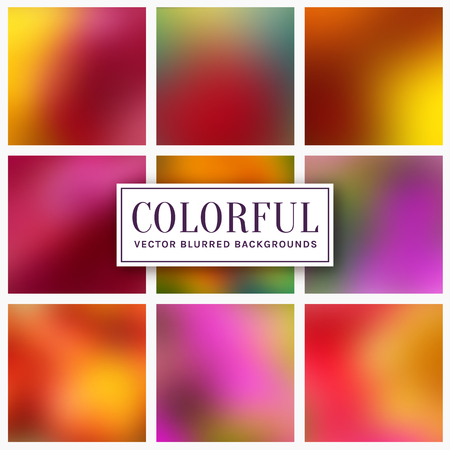 Blurred backgrounds. Abstract colorful cards with copy space for your design. Vector set. Ilustração