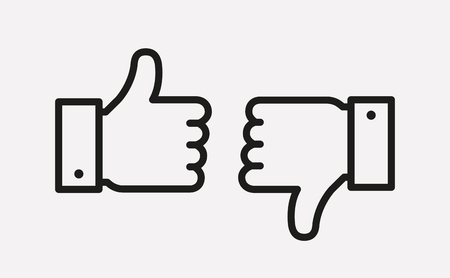 Thumbs up and thumbs down line icons isolated on white background. Hands showing Like and Dislike signs. Vector outline symbols.  イラスト・ベクター素材