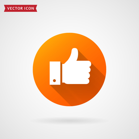 Thumbs up flat icon. Hand showing Like sign. Modern circle symbol with long shadow for social media or apps. Vector illustration.  イラスト・ベクター素材