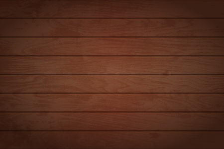 Wooden background. Vector texture of table surface. Top view. Dark brown wood boards.