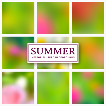 Blurred backgrounds. Abstract summer and spring cards with copy space for your design. Colorful vector set.