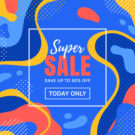 Sale banner with abstract colorful background. Vector template for web advertising discount in trendy style.