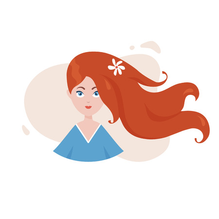 Young pretty womаn with long flowing hair. Vector illustration.