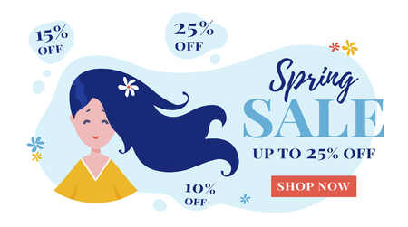 Sale banner for web advertising of spring discounts. Vector template for online shop. Modern background with cute girl.  イラスト・ベクター素材