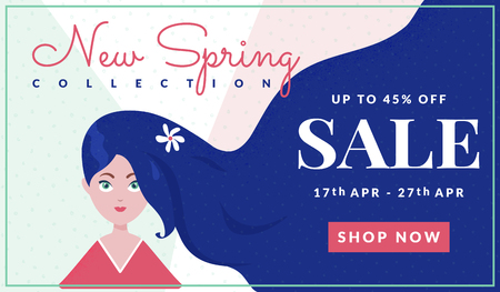 Sale banner for web advertising of spring discounts. Vector template for online shop. Modern background with attractive girl.  イラスト・ベクター素材