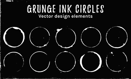 Grunge ink circles. Coffee rings and stains isolated on black background. White vector design elements.