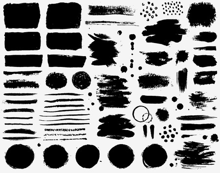 Paint brush strokes and black ink stains isolated on white background. Set of grunge vector design element for paintbrush texture, frame, background, banner or text boxes. Freehand drawing collection.