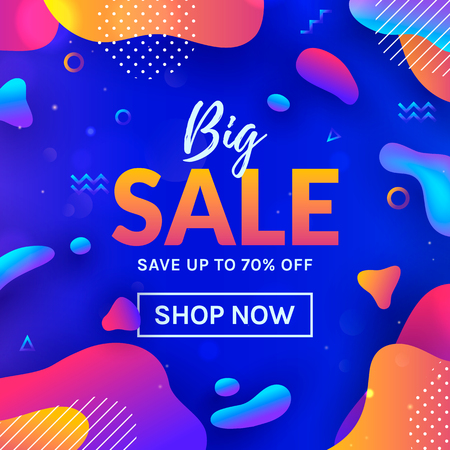 Sale web banner with colorful abstract background. Vector template for discount promotion. Trendy style with fluid gradient shapes.
