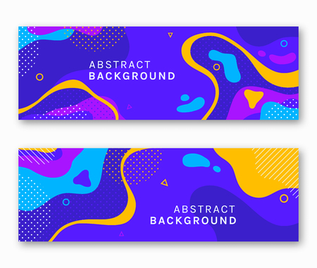 Colorful banners with abstract background and space for text. Vector illustration in trendy style.