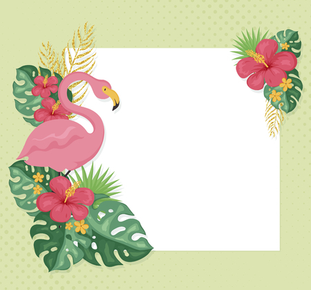 Summer background with pink flamingo, flowers and leaves. Tropical banner with copy space. Vector illustration.