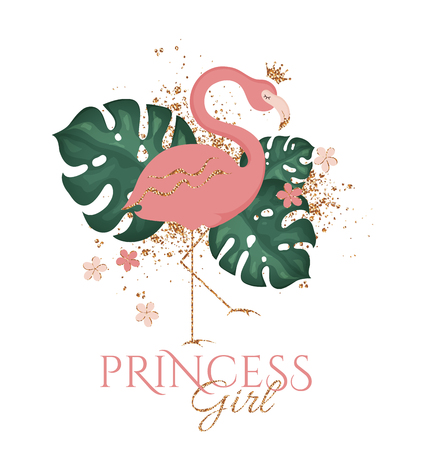 Pink flamingo. Vector illustration with beautiful bird, tropical leaves, and flowers isolated on white background. Fashion print design with golden glitter splash and Princess Girl inscription.  イラスト・ベクター素材