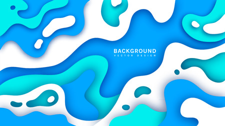 Paper cut background. Abstract vector template with multi layers smooth shapes. Modern 3d design.  イラスト・ベクター素材