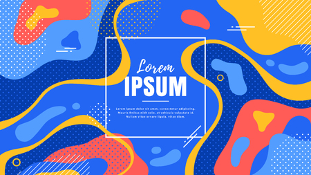 Abstract background with dynamic shapes and space for text. Vector banner template in trendy style.