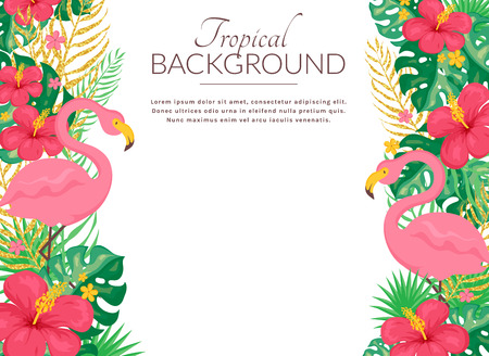 Tropical background with pink flamingo, flowers and leaves. Summer banner with copy space. Vector illustration.  イラスト・ベクター素材