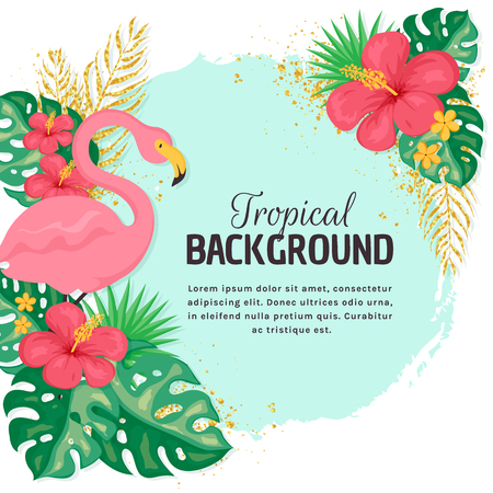 Summer background with pink flamingo, flowers and leaves. Tropical banner with place for text. Vector illustration.
