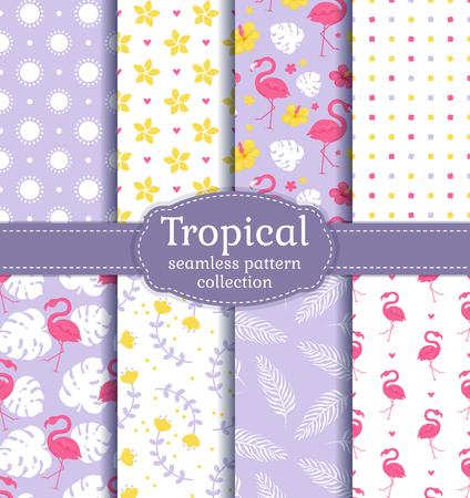 Fondos tropicales sin fisuras con flamencos, hojas, flores y patrones abstractos. Conjunto de vectores. Ilustración de vector