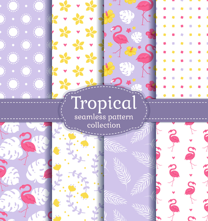 Tropical seamless backgrounds with flamingos, leaves, flowers and abstract patterns. Vector set. Ilustración de vector