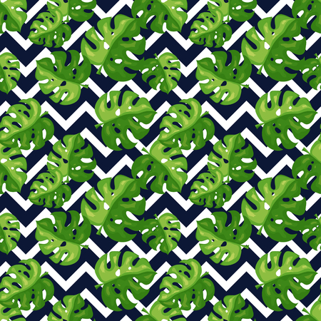 Tropical seamless pattern. Monstera leaves and chevron background. Vector illustration.
