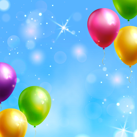 Vector background with colorful balloons and copy space for birthday congratulation or party invitation.