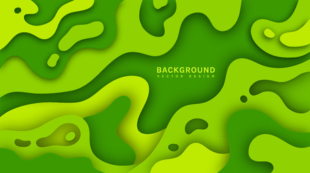 Paper cut green background. Abstract vector template with multi layers smooth shapes. Modern 3d design.  イラスト・ベクター素材