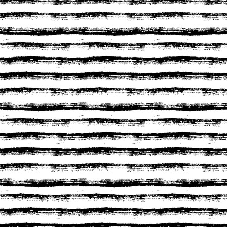 Abstract seamless pattern with paint brush lines. Black and white striped background with grunge stripes. Vector texture.  イラスト・ベクター素材
