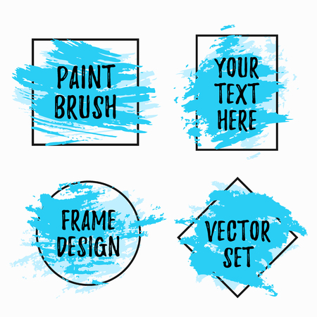 Set of black vector frames with blue paint brush strokes isolated on white background. Modern design elements for sale banners, flyers, advertisement or text boxes.  イラスト・ベクター素材