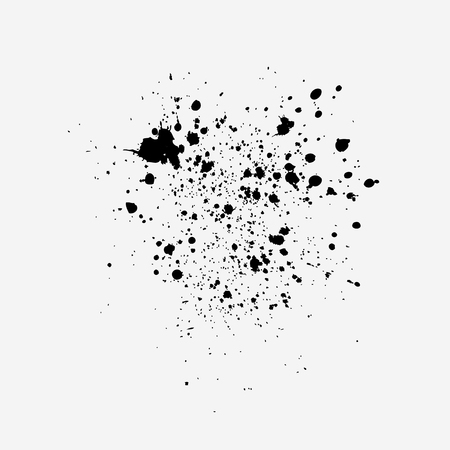 Black ink splash. Paint stains isolated on white background. Vector.  イラスト・ベクター素材