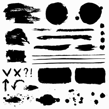 Paint brush strokes, grunge stains and symbols isolated on white background. Black vector design elements for paintbrush texture, frame, background, banner or text box. Freehand drawing collection.
