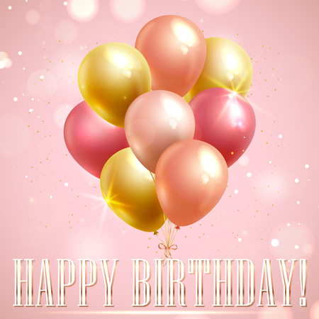 Happy Birthday greeting card with pink and yellow balloons on shining background. Vector banner.