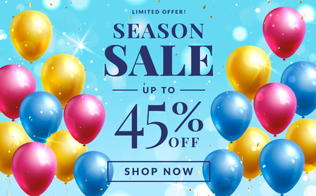 Sale banner with colorful balloons. Vector template for web advertising of season discounts.