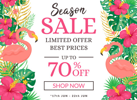 Sale banner with tropical background. Summer promotion template with pink flamingos and flowers. Vector illustration.  イラスト・ベクター素材