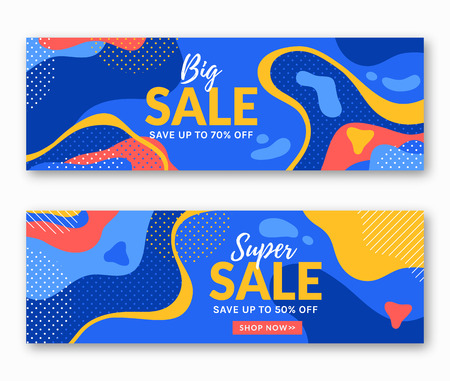 Sale banners with abstract colorful background. Vector templates for web advertising discounts in trendy style.