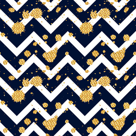 Seamless pattern with glittering splashes and stains on chevron background. Vector illustration.