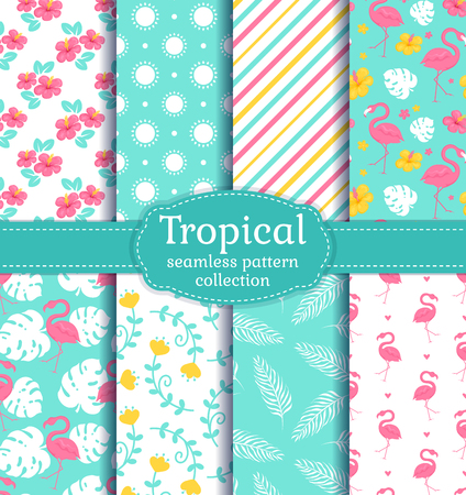 Tropical seamless backgrounds with flamingos, leaves, flowers and abstract patterns. Vector set.