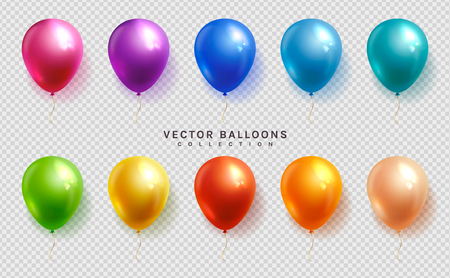 Set of colorful balloons on a transparent background. Vector objects in realistic style.  イラスト・ベクター素材