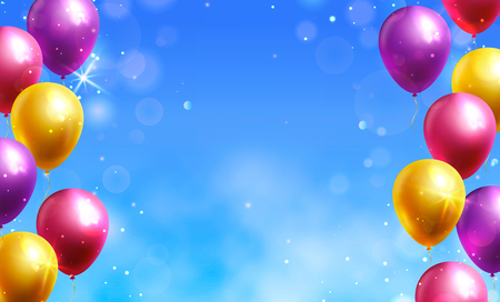 Vector background with colorful balloons and copy space for birthday congratulation or party invitation. Holiday banner.