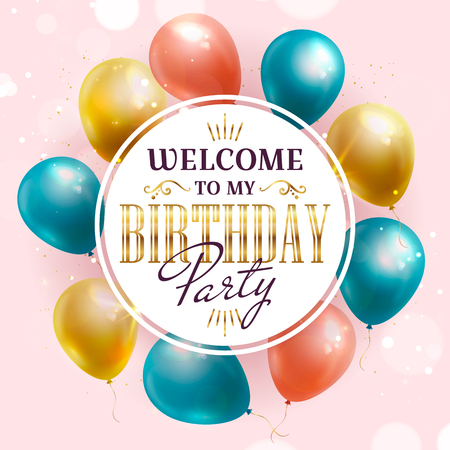 Birthday party invitation with colorful balloons. Vector banner.
