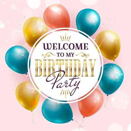 Invitación a fiesta de cumpleaños con globos de colores. Bandera de vector.