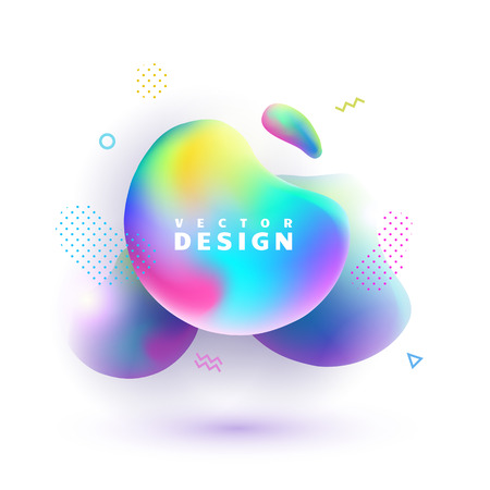 Vector abstract shapes on white background. Colorful gradient bubbles. Modern design element with place for text.