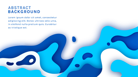 Sea paper cut background with copy space. Abstract vector banner with multi layers waves and place for text.  イラスト・ベクター素材