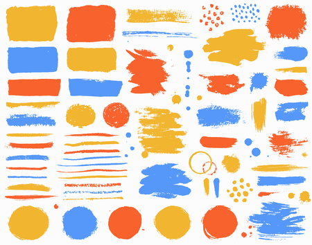 Paint brush strokes and colorful ink stains isolated on white background. Grunge vector design elements set for paintbrush texture, frame, background, banner or text box. Freehand drawing collection.