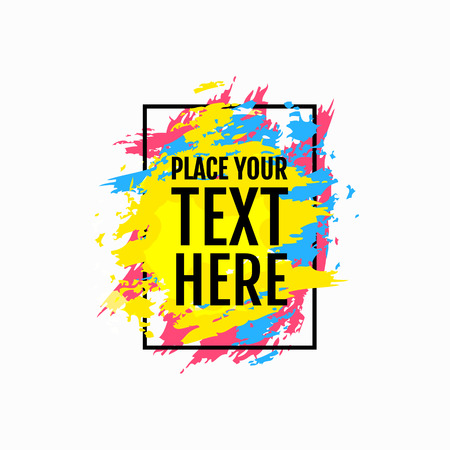Colorful frame with paint brush strokes isolated on white background. Modern design element for sale banners, invitations, flyers, advertisement or text boxes. Vector illustration.  イラスト・ベクター素材